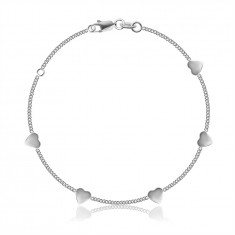 925 Silver bracelet – chain made of oval links, glossy hearts