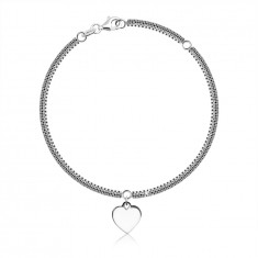 925 Silver bracelet – checkerboard chain, square-shaped links, heart