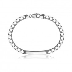925 Silver bracelet – glossy smooth plate, flat chain made of square links