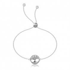 Adjustable 925 silver bracelet – square chain, tree of life in a circle
