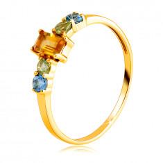 Ring in 14K yellow gold – angular citrine, round olivine and Swiss topaz
