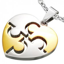 Two tone stainless steel Puzzle Heart pendant