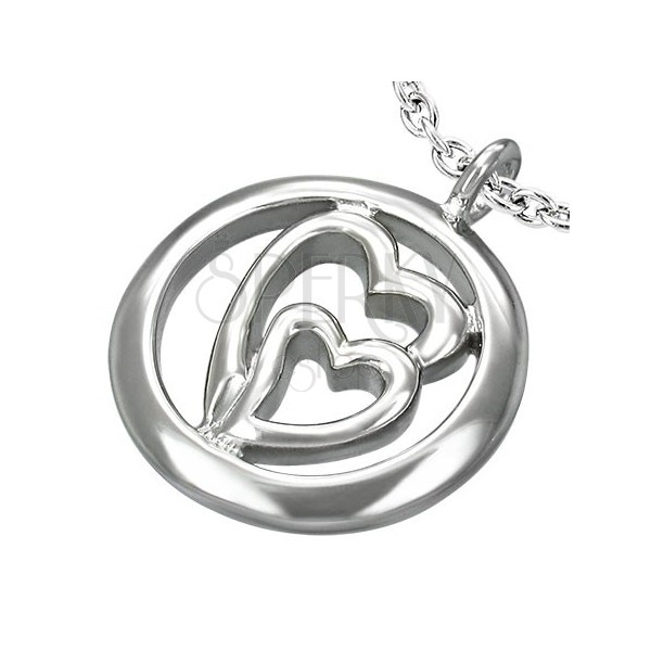 Stainless steel pendant - two hearts in circle