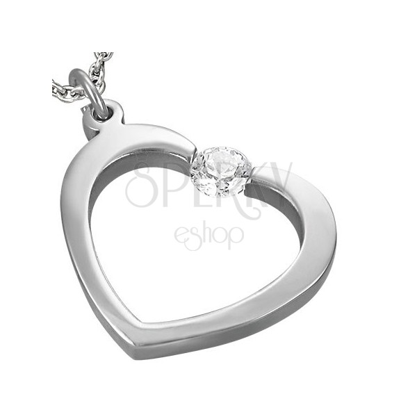 Steel pendant - heart with rhinestone