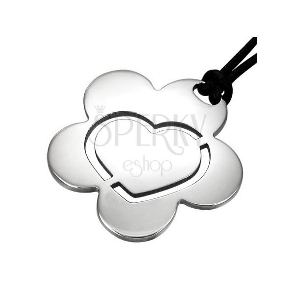 Flower Heart steel pendant