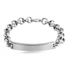 Steel bracelet - smooth rounded plate, cable chain, lobster claw clasp