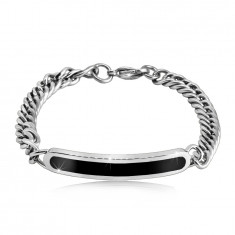 Steel bracelet - glossy rounded band with black center, chain of twisted rings, lobster claw closure