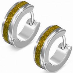 Steel earrings in silver colour, shimmering gold stripe
