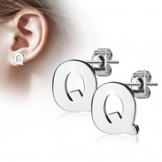 Steel earrings in silver colour - capital letter Q, high gloss