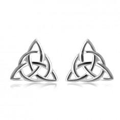 925 Silver earrings – shiny three-pointed Celtic knot, push back fastening