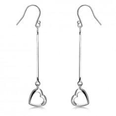 Dangling earrings in 925 silver – chain with a snake skin motif, heart outline