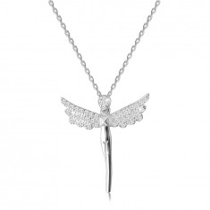 925 Silver necklace – angel figure, wings paved with clear zircons