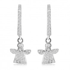 Hinged snap earrings in 925 silver – a ring and an angel adorned with clear zircons