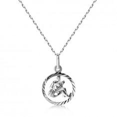 925 Silver necklace – chain and AQUARIUS zodiac sign