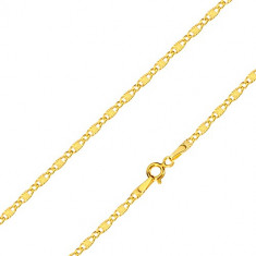 Chain in 14K yellow gold – elongated links with radial knurling and oval links, 450 mm