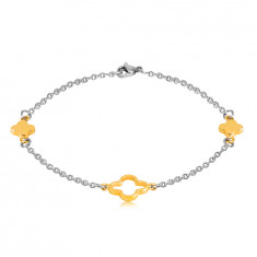 Steel bracelet in a golden and silver colour – smaller flowers, flower outline in the centre