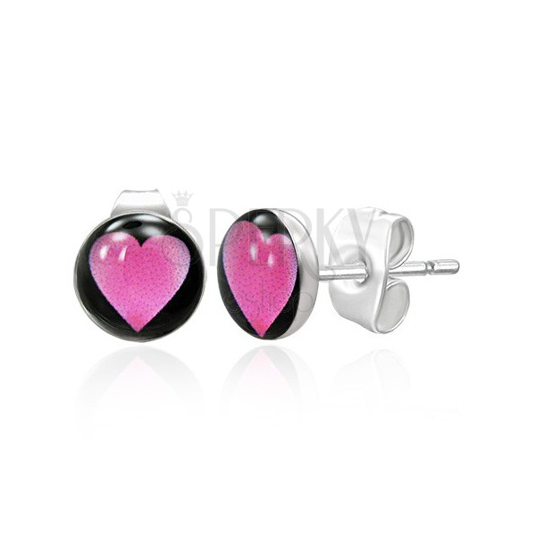Stainless steel stud earrings - pink heart