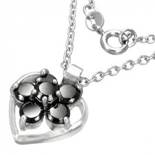 Fashion necklace with heart and flower