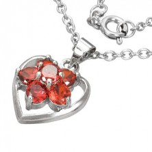 Necklace with red gem paved flower