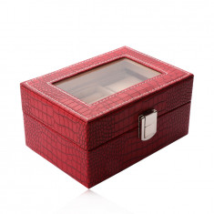 Rectangular jewelry box in a red color - imitation of crocodile leather, buckle