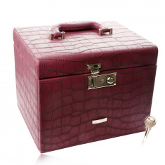 Suitcase jewelry box in burgundy color, crocodile pattern, metal details in silver hue
