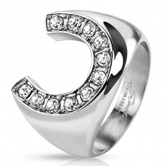 Ring made of stainless steel, massive horseshoe inlaid with zircons