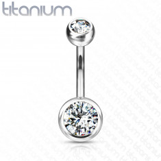 Titanium belly button piercing - two clear round zircons, 11 mm