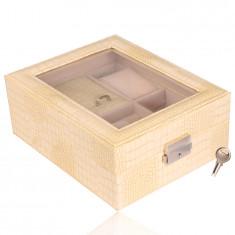 Rectangular jewelry box in creamy color - imitation of crocodile leather, buckle, key