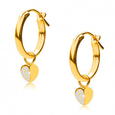 14K Gold earrings, hoops with a heart pendant, French lock, 12 mm