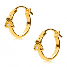 14K Gold earrings, hoops with a teddy bear and a zircon, French lock, 12 mm