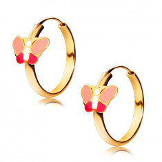 14K Gold round earrings, pink butterfly, shiny surface, 15 mm