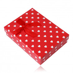 Gift box for a chain or set - white hearts, red background