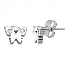Stud steel earrings - butterfly with zircon wings