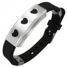 Rubbery bracelet of black colour - steel stamp with three hearts