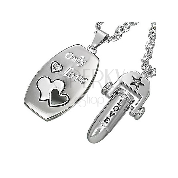 Couple necklace - bullet love and tag with love message