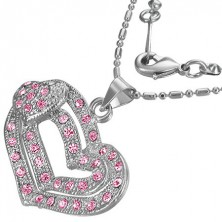 Romantic fashion necklace - pink hearts