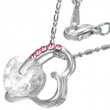 Necklace - pink heart with stone