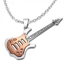 Copper coloured guitar pendant made of steel