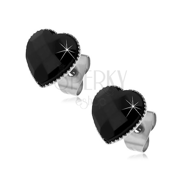 Earrings made of 316L steel - black cut heart, studs
