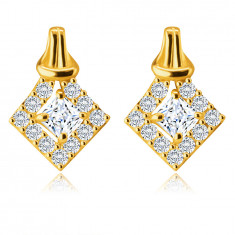 9K Golden earrings – square-shaped zircon between four prongs, lined with round zircons, knot