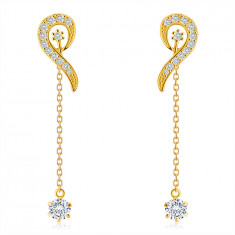 9K Golden earrings – loop line paved with zircons, short chain with a zircon in a mount