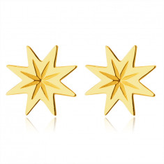 Earrings made of 9K gold – eight-pointed star with knurling, shiny smooth finish, studs