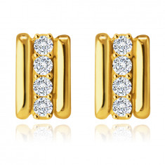 Earrings made of 9K gold – rectangle with a zircon middle strip, two thin stripes, studs