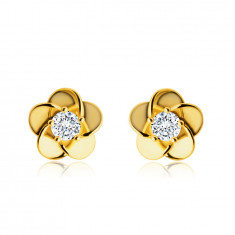 9K Golden earrings – flower with overlapping petals, zircon in the centre, studs