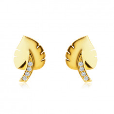 "Earrings made of 9K gold – ""Monster"" leaf motif, stem adorned with zircons, studs"