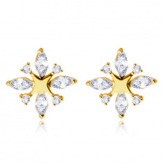 Earrings in 9K yellow gold – small shiny star, teardrops paved with zircons, round zircons