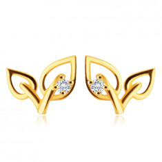 9K Yellow gold earrings – two leaves with clear round zircon