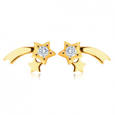 9K Yellow gold earrings – glossy comet, clear round zircon