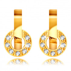 Earrings made of 9K yellow gold – small round strip, tiny glittery zircons