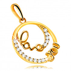 """9K Gold pendant – a circle with a decorative writing """"Love you"""", small clear zircons"""